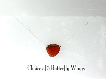 Sterling Silver Real Butterfly Wing Necklace - Choice of 3 Butterfly Wings - Wing Hung Inline