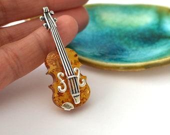 Violin Brooch Unique Brooch Music brooch instrument pin Original Gift Amber Brooch Violin Pin Musician Gift