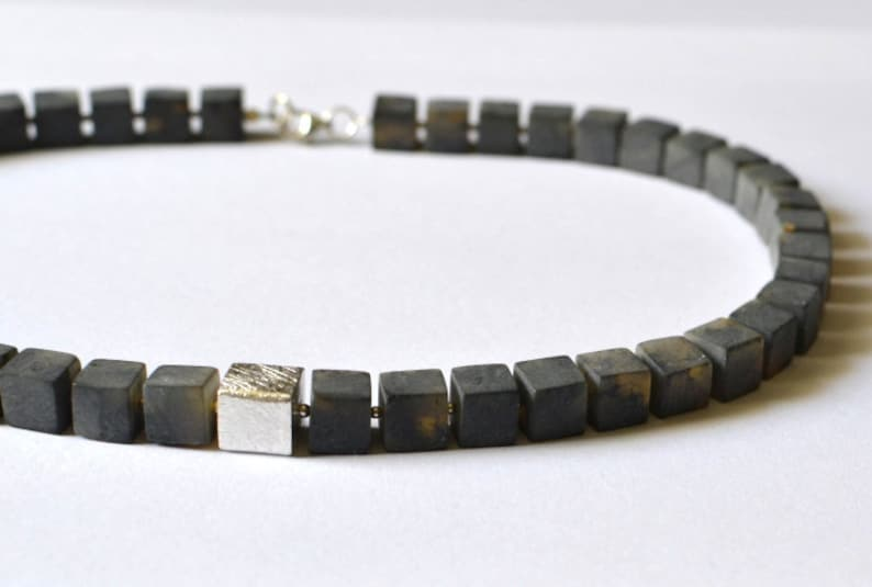 Black Amber Necklace Dark Baltic Amber Sterling Silver Jewelry
