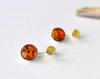 Amber earrings, Amber ear jacket earrings, Amber double sided earrings, Amber stud earrings