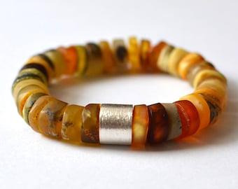 Amber and Silver Bracelet, Baltic Amber Bracelet, Organic Handmade, Natural Bracelet, Nature Inspired Amber Jewelry