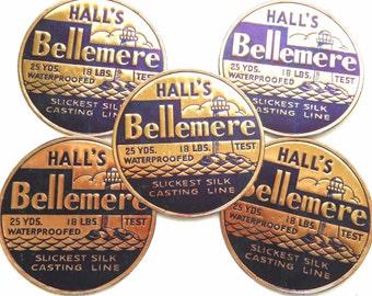 Vintage Fishing Line Labels - Rare 1940s Embossed Navy Blue and Gold Casting Line Labels - Hall's Bellemere Silk Casting Line Labels