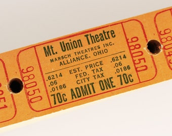 Vintage Theatre Tickets in Sets of 25, 50 or 100 - Old Orange Movie Theater Tickets - Mount Union Theatre - Alliance, OH - Paper Ephemera