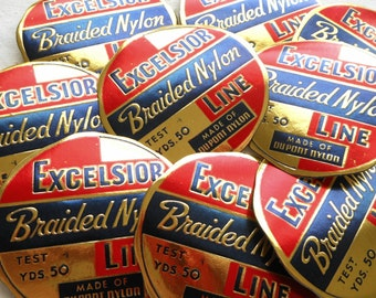 Vintage Fishing Line Labels - Rare 1940s Embossed Red, Navy Blue, and Gold Labels - Excelsior Braided Nylon Line Labels - Paper Ephemera