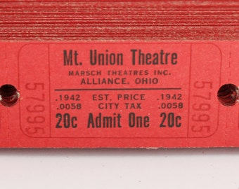 Vintage Theatre Tickets in Sets of 25, 50 or 100 - Old Red Movie Theater Tickets - Mount Union Theatre - Alliance, OH - Paper Ephemera
