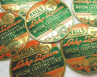 Vintage Fishing Line Labels - Rare 1940s Embossed Orange, Green, and Gold Labels - Hall's Lake Queen Nylon Casting Line Labels - Ephemera