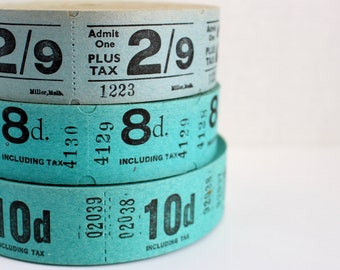 18 Vintage Foreign Cinema Tickets - Pick Your Combo - Blue and Teal Movie Tickets from Australia and the UK - Cool Tone Ticket Mix