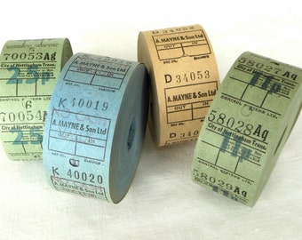 20 Vintage British Bus Tickets - Pick Your Combo -  Green, Blue and Cream UK Transportation Tickets - Cool Tones English Ticket Mix