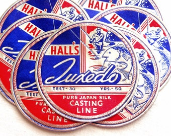 Vintage Fishing Line Labels - Rare 1930s Red, Blue and Silver Casting Line Labels - Hall's Tuxedo Casting Line Labels - Small Paper Ephemera