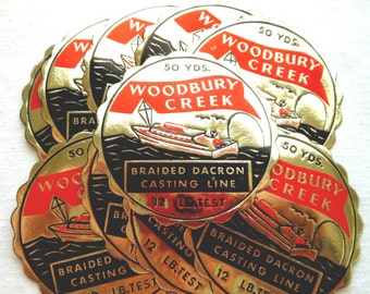 Vintage Fishing Line Labels - Rare 1930s Red, Black and Gold Casting Line Labels - Woodbury Creek Casting Line Labels - Small Paper Ephemera