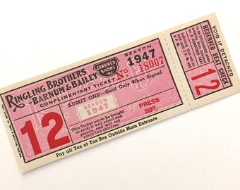 One (1) Large Vintage Circus Ticket - 1 Old Illustrated Ringling Brothers Barnum & Bailey Circus Ticket from 1947 - Press Ticket