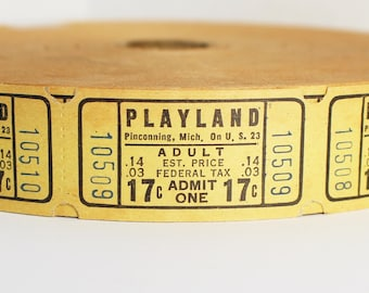 """Vintage Amusement Park Tickets in Sets of 10 or 20 - Old Yellow """"Playland"""" Ticket Lot - Small Ephemera Embellishments"""