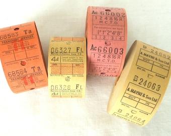 20 Vintage British Bus Tickets - Pick Your Combo -  Cream, Orange, Yellow and Pink UK Transportation Tickets - Warm Tones English Ti