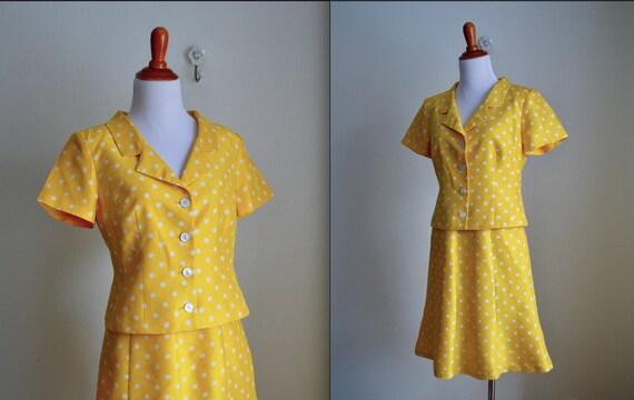 Two-piece Silk Polka Dot Skirt Set, Small - image 3