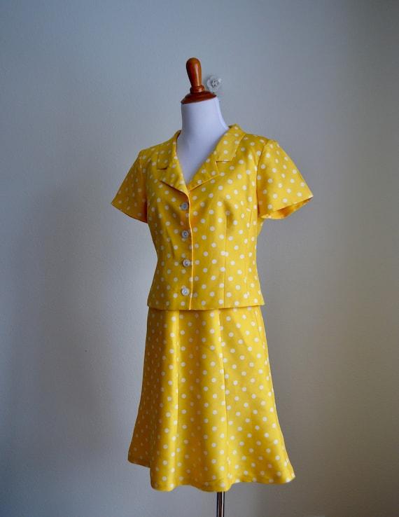 Two-piece Silk Polka Dot Skirt Set, Small - image 4