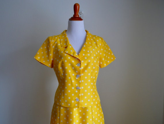 Two-piece Silk Polka Dot Skirt Set, Small - image 2