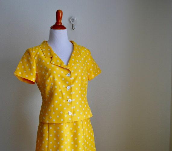 Two-piece Silk Polka Dot Skirt Set, Small - image 5