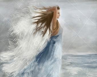 Angel Art- Angel, Angel Painting, Guardian Angel, Guardian Angel Gift, Angel Print, Faith, Angel Decor, Angel Gift, Inspirational Art