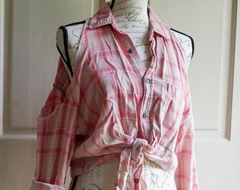 Grunge Clothing- Upcycled Clothing, Bleached Flannel, Hippie Clothes, Upcycled Shirt, Women, Cold Shoulder, Hippie Shirt, Country Shirt,