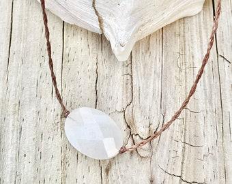 Jade Necklace- Jade Pendant, White Jade Necklace, Surf Jewelry, Boho Jewelry, White Jade, Waterproof Necklace, Yoga Necklace, Yoga Jewelry