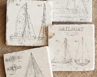 Sailboat- Coasters, Sailing Decor, Sailboat Decor, Sailor Gift, Sailboat Gift, Sailor Decor, Nautical Decor, Nautical Gift, Sailboat Tile