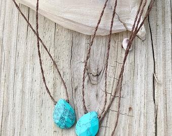 Turquoise Necklace- Turquoise Pendant, Turquoise Teardrop Necklace, Teardrop Pendant, Turquoise Jewelry, Turquoise, Waterproof, Yoga