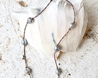 Pearl Necklace- Pearl Choker, Pearl, Necklace, Waterproof, Boho Necklace, Natural Necklace, Yoga Jewelry, Yoga Necklace, Grey