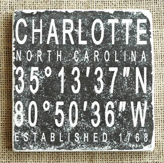 City Decor City Gift Established Personalized Nc Gift Longitude Latitude State Gift State Decor City State Trivet North Carolina