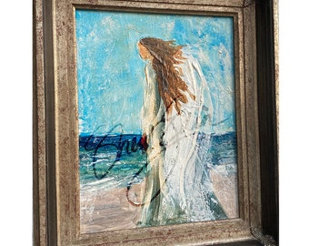 Angel Painting- Angel Gift, Guardian Angel, Angel, Guardian Angel Gift, Angel Art, beach, Angel Decor, beach decor, shabby chic, Believer,