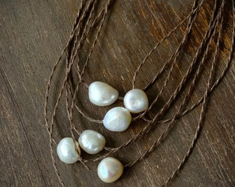 Pearl Choker- Simple Pearl Necklace, Single Pearl Necklace, Pearl Necklace, Yoga Necklace, Layering Necklace, Metal FREE