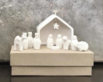 East of India Nativity- Tiny Nativity, Miniature Nativity, Small Nativity, Nativity, Simple Nativity, Mini Nativity, Porcelain Nativity