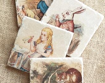 Alice in Wonderland- Coasters, Alice in Wonderland Decor, Alice in Wonderland Gift, Alice in Wonderland Tile, Lewis Carroll