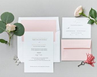 Wedding Invitation Suite - The Elizabeth Collection - Classic Wedding Invitations - Traditional Wedding Invitations - Blush Wedding Invites