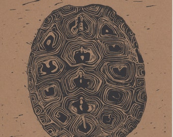 Box Turtle Shell- Handcarved lionleum block print