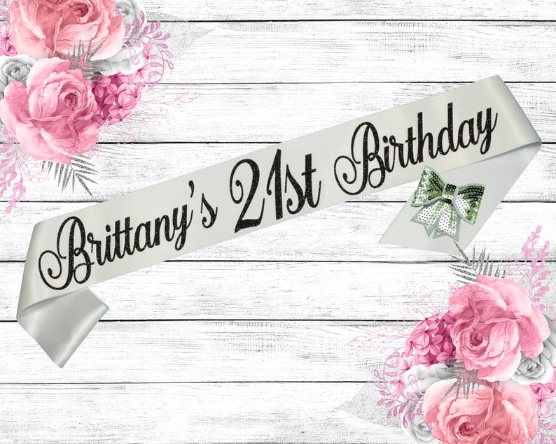 Birthday Sash 21st Birthday 21st Glitter Sash 21 Birthday image 0