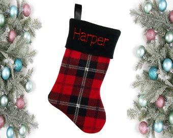 Handmade Christmas Stockings - Personalized Stocking, Monogrammed Stocking, Embroidered Stocking, Xmas Stocking, Family Plaid Stocking