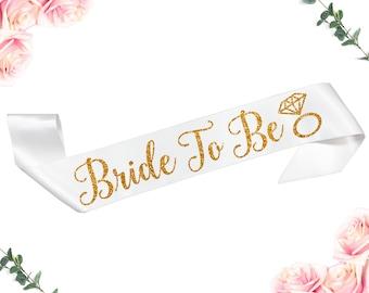 Bride To Be Sash, Future Mrs Sash, Bachelorette Sash, Bride Gift, Bridal Shower Sash, Custom Satin Gold Glitter Sash