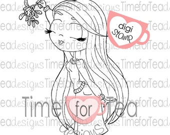 Under the Mistletoe Girl Digital Stamp