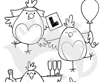 Hen Do Digital Stamp, Line Drawing Illustration, Paper Craft, Adult Colouring, Card Making, Hens, Hen Party, Critter Stamps, Wedding