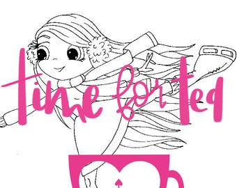 Skater Ice Skater Girl Digital Stamp Papercraft Line Drawing Illustration for Crafters and Adult Colouring