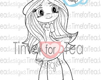 Cute Girl Digital Stamp