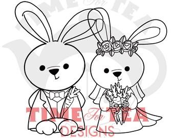 Bride & Groom Bunnies Digital Stamp, Line Drawing Illustration, Paper Craft, Adult Colouring, Card Making, Girl Stamps, Wedding Bunnies