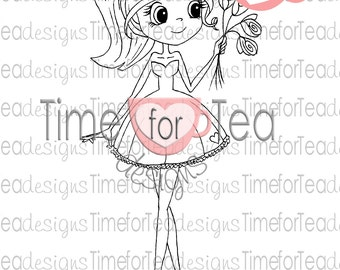 Girl with Roses Digital Stamp