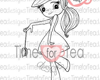 Yo-Yo Girl Digital Stamp