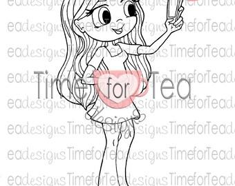 Time For Tea Lets Take a Selfie Digital Stamp