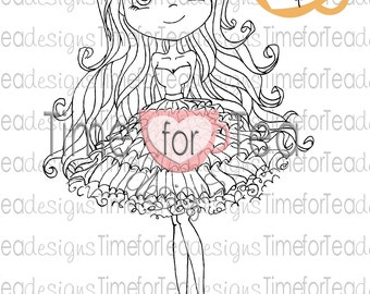 Girl in a Frilly Dress Digital Stamp