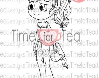 Time For Tea Beach Babe Digital Stamp