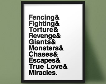 Princess Bride, Typographic Poster, Fencing Fighting Torture Revenge