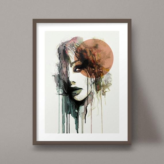 Aquarell Portrait Kunstdruck Bio Paint Weibliches Gesicht Etsy