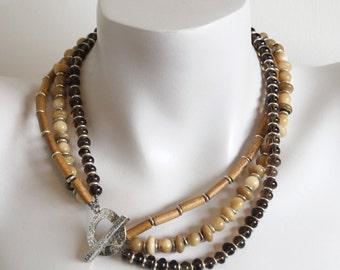 Chunky Smoky Quartz Necklace Swarovski Gold Pearls 925 Etsy